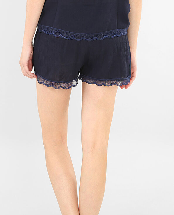 Short homewear de encaje azul