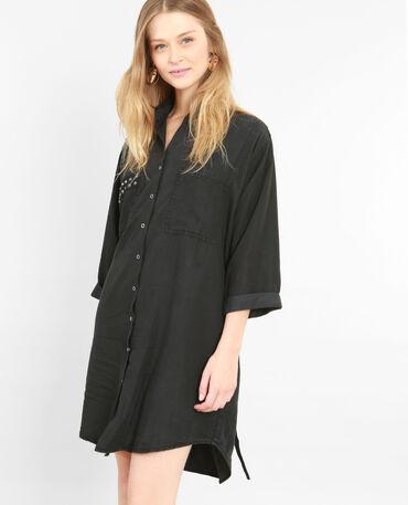 Robe chemise cloutée noir