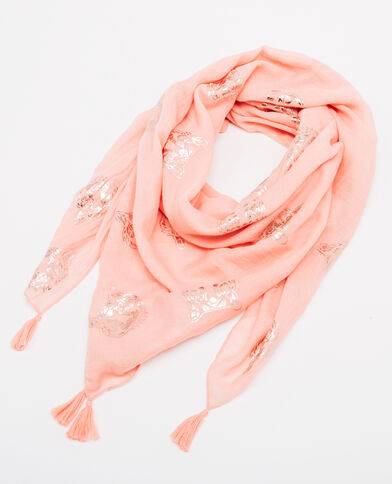 Foulard à pompons rose