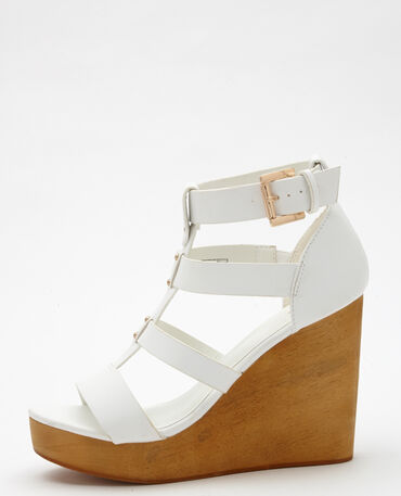 Sandales multibrides compensées blanc