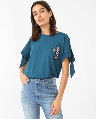 Geborduurd T-shirt eendenblauw