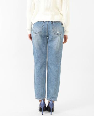 Mom-Jeans mit Nieten Denimblau