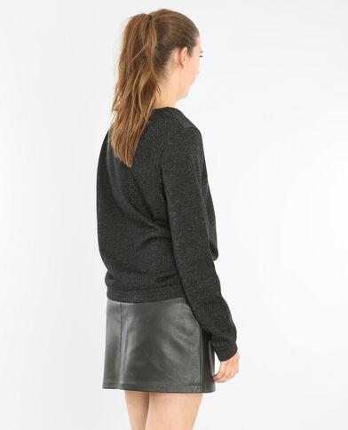 Sweatshirt mit Pailletten Schwarz