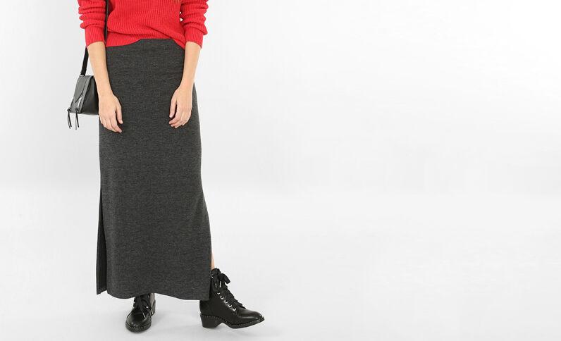 Falda larga con abertura gris jaspeado
