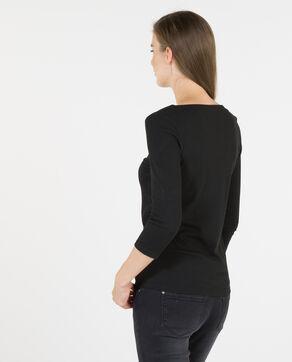 Am Ausschnitt geschnürtes T-Shirt Schwarz