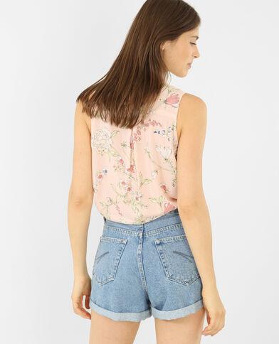 Chemise sans manches imprimée rose pâle