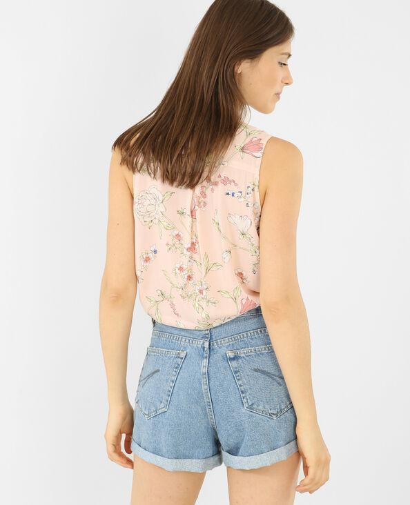 Mouwloos hemd met print bleekroze