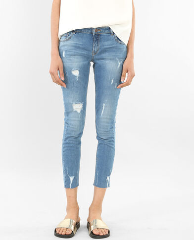 Jeans skinny tobilleros destroy azul
