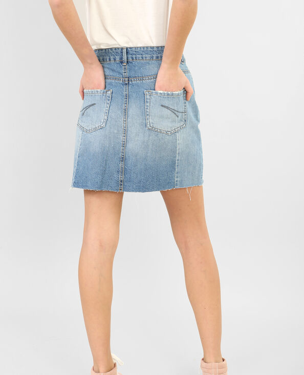 Jupe denim raw cut bleu denim