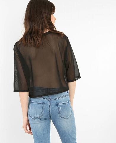 T-shirt court en voile noir