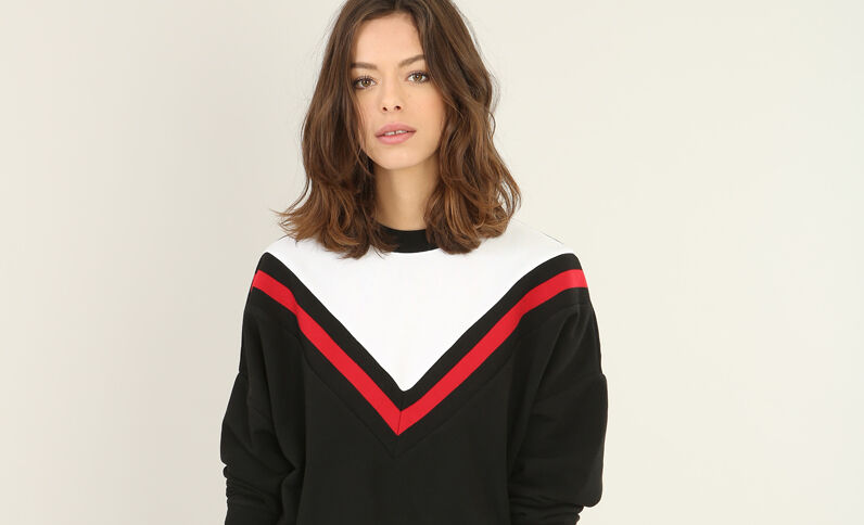Sweat tricolore noir