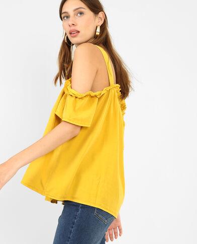 Top con maniche peekaboo giallo mostarda
