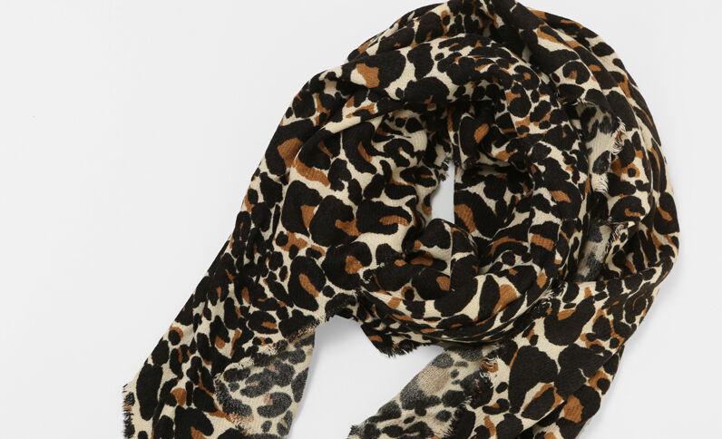 Fine écharpe léopard brun