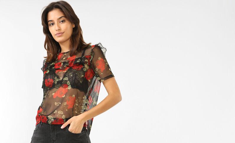 Doorzichtige blouse met bloemenprint zwart