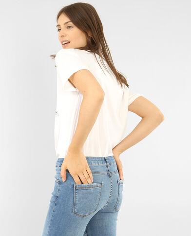 T-shirt manches courtes brodé blanc
