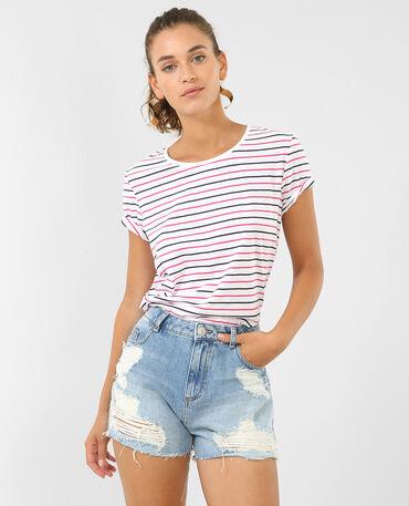 Camiseta a rayas rosa