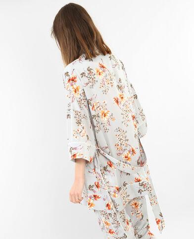 Satijnachtige huiskimono met bloemenprint grijs