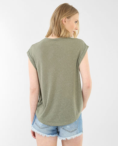 Camiseta cuello bisutería verde