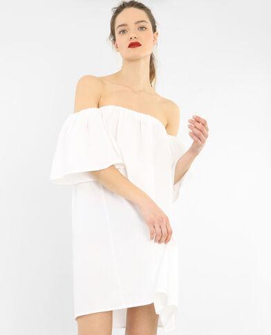 Vestido de popelina crudo