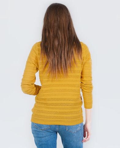 Pull fin ajouré jaune moutarde