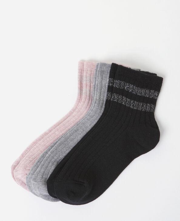 Lot de chaussettes bandes lurex rose