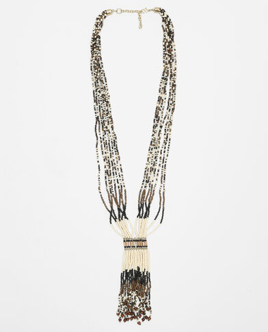 Collana lunga in perle bruno