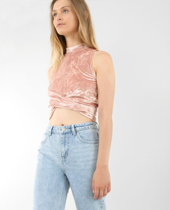 Cropped top velours rose