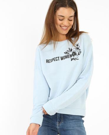 Sweater met opschrift hemelsblauw