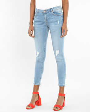 Destroyed-Jeggings Hellblau