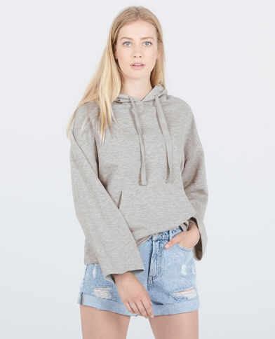 Sweat à capuche homewear gris chiné