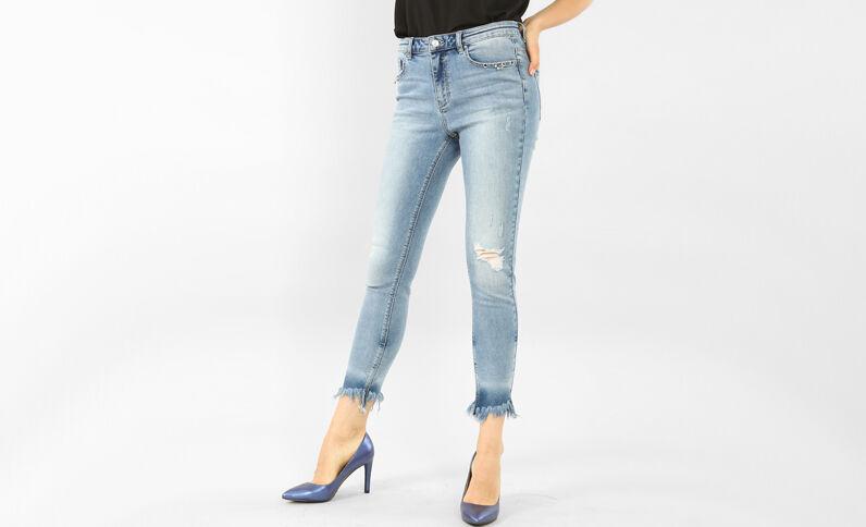 Skinny Jeans mit Ösen-Fransen Blau