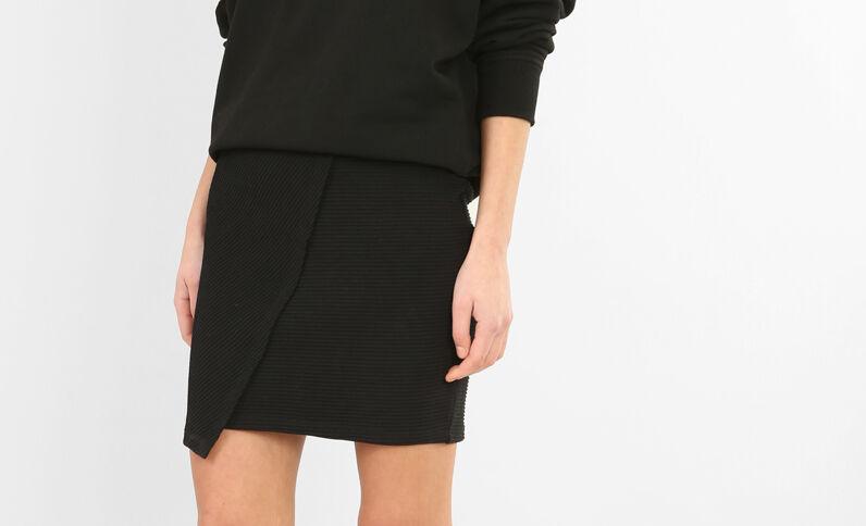 Mini jupe texturée croisée noir