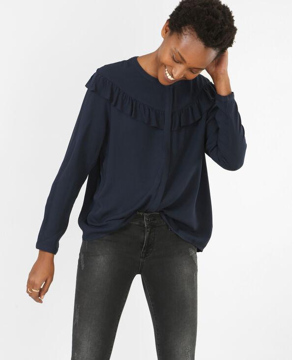 Camicia con volant. blu marino