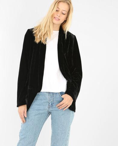 Weite Jacke aus Velours Schwarz