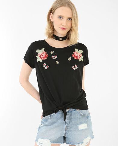 T-shirt da annodare con patch nero