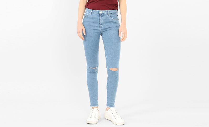 Jeggings taglio ginocchia blu chiaro