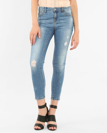 Jeans skinny con zip blu denim