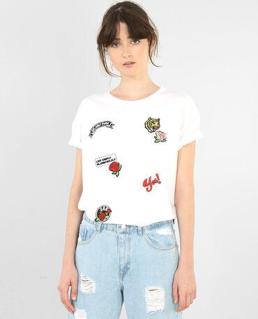 T-shirt à patchs blanc
