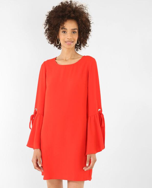 Soepelvallende jurk met wijde mouwen rood
