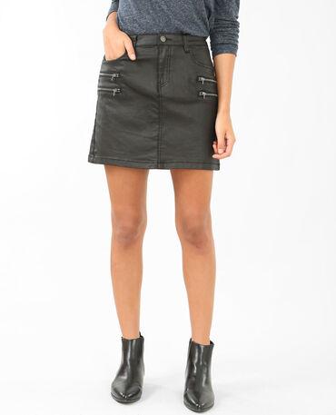 Jupe enduite zippée noir
