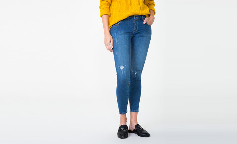 Jegging Destroy-Look Blau