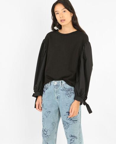 Sweatshirt Bi-Material Schwarz