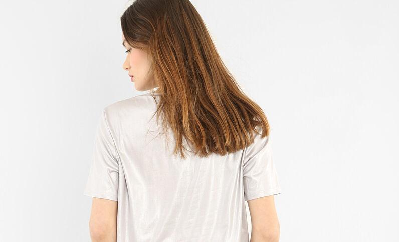 Schillerndes T-Shirt Grau