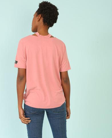 T-Shirt mit Choker-Kragen Rosa