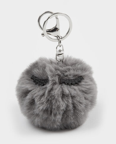 Porte-clés pompon gris