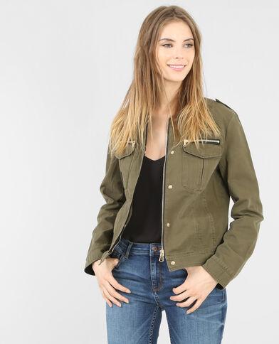 Kurze Jacke aus Baumwolle Khaki
