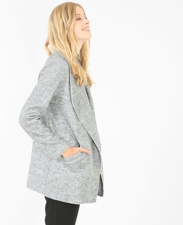 Warme Jacke mit Zipfeln Grau meliert
