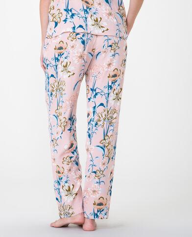 Pantalon fluide imprimé rose pâle