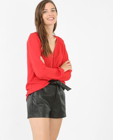 Blusa con cremallera rojo