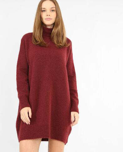 Pulloverkleid mit Rollkragen Granatrot